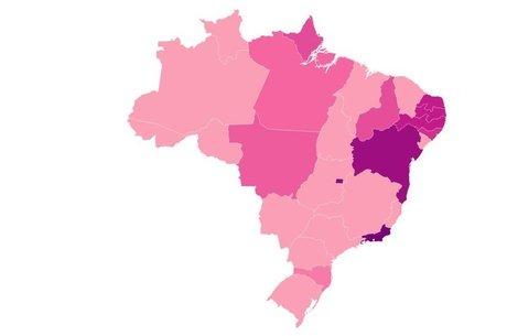 Quanto mais escuro o Estado no mapa, maior o desperdício - os Estados em rosa claro não registraram descarte de medicamentos