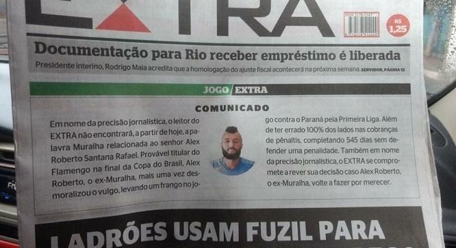 Jornal ironizou atuações de Muralha com a camisa do Flamengo