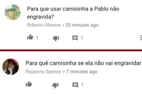 Comentários sobre a campanha no YouTube