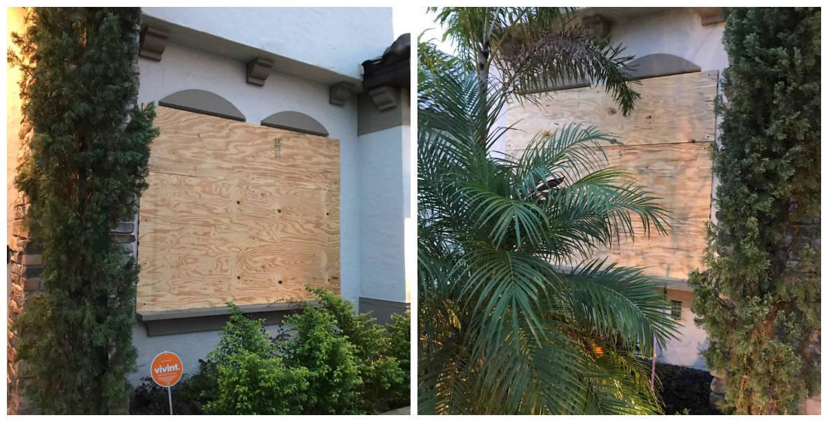 Karina Bacchi se protege do furacão: