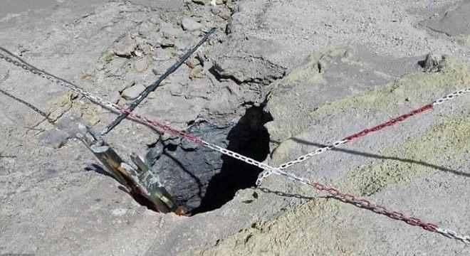 Região da cratera estava interditada por ter areia movediça e forte emissão de gases tóxicos