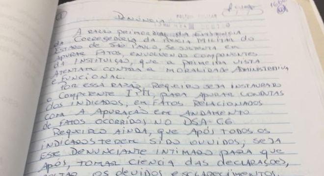 Início da denúncia de José Afonso Adriano Filho à Corregedoria