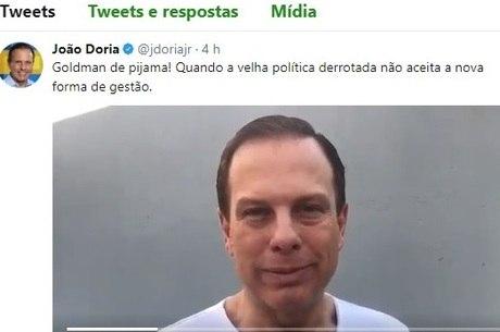 João Doria disse que Goldman é a política derrotada