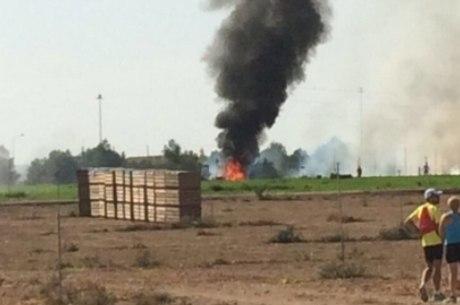 Aeronave caiu próximo a base militar aérea
