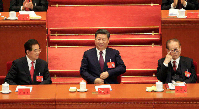 Xi Jinping (ao centro) abertura do 19º Congresso do Partido Comunista chinês
