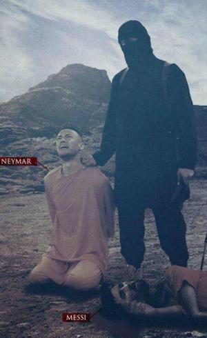 Imagem de nova ameaça dos extremistas mostra Neymar e Messi