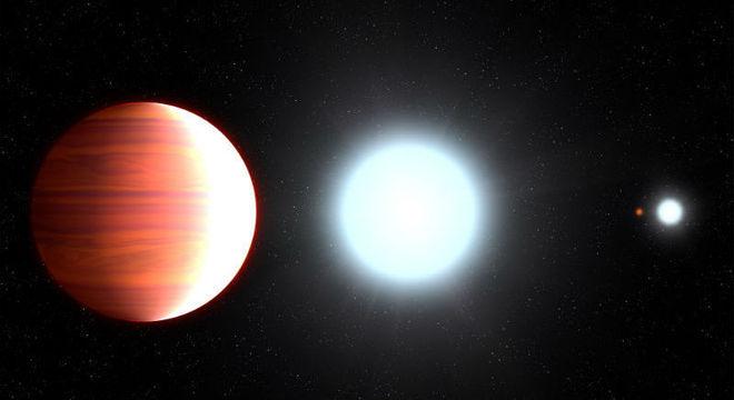 Na imagem, o planeta Kepler 13Ab (em vermelho), junto de sua estrela hospedeira, Kepler 13A, além de seus companheiros Kepler 13B e Kepler 13C