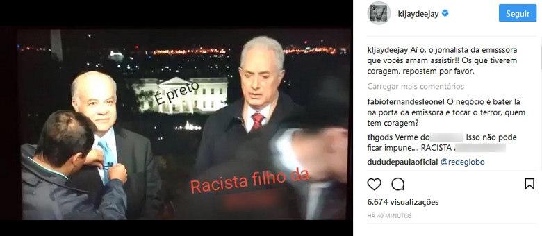 Dj KL JAY, do Racionais MC's, divulgou o vídeo de William Waack. A imagem está com desfoque no palavrão