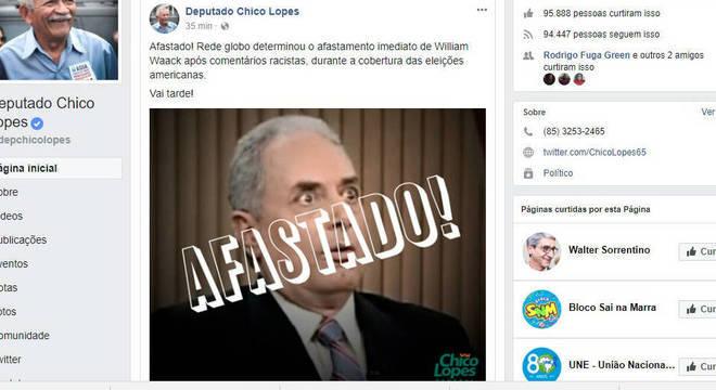 Deputado Chico Lopes apoiou o afastamento do jornalista