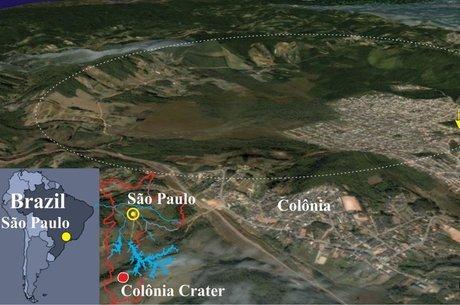 Indicada pela linha pontilhada, cratera tem 3,6 quilômetros de diâmetro e cerca de 300 metros de profundidade