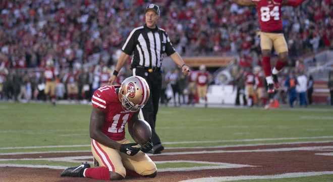 e9e1214779 Goodwin se emocionou após marcar touchdown na primeira vitória dos 49ers