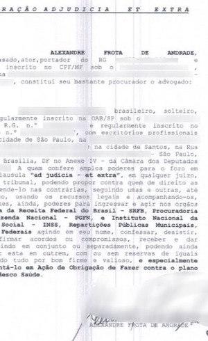 Procuração assinada por Frota