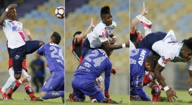 Diego Alves se chocou com atacante González ainda no primeiro tempo