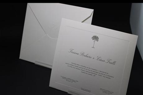 Convite confeccionado em papel importado da Escócia