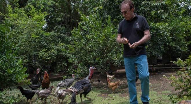 Moacyr Franco tem criação de galinhas e perus em casa