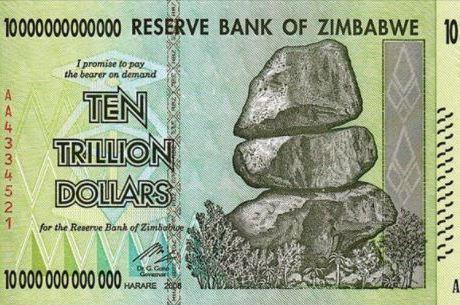 Nota de dez trilhões de dólares zimbabuanos