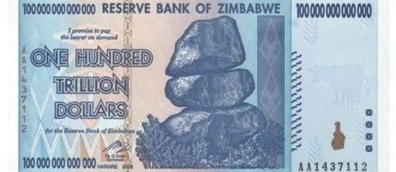 Nota de cem trilhões de dólares zimbabuanos tinha nada menos do que 14 zeros