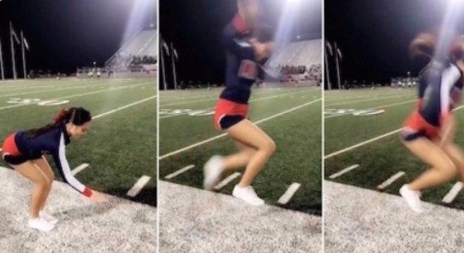 Cheerleader mostrou que tem habilidade