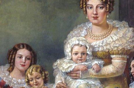 Leopoldina com os filhos, D Pedro II no seu colo