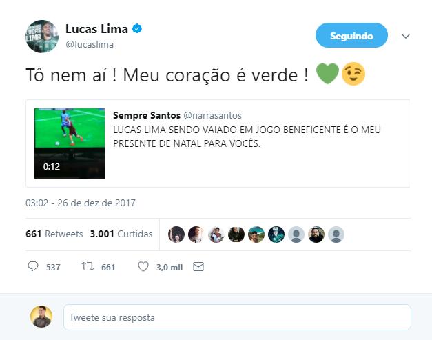 Provocado por santista, Lucas Lima rebate: