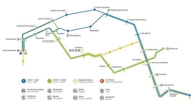 Em amarelo no mapa, o trajeto que será realizado pela nova linha