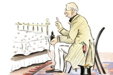 Ilustração de um médico antigo