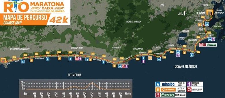 Veja o mapa do percurso da Maratona do Rio