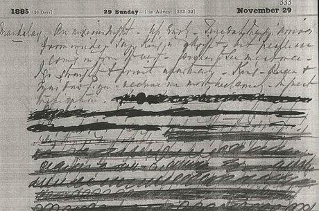 O diário de Sladen tem, no dia 29 de novembro de 1885, um trecho que foi rasurado