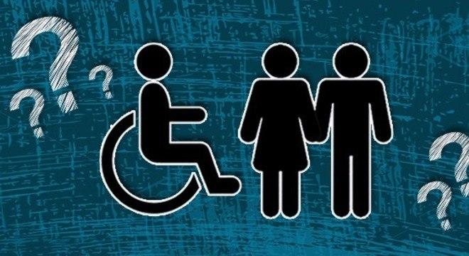 Descrição pra cego ver: Banner com símbolos de pessoas no centro com interrogações nos cantos.