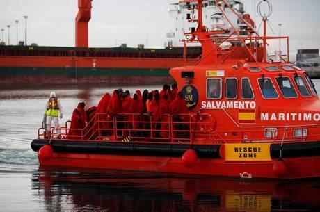 Imigrantes resgatados em Málaga, Espanha