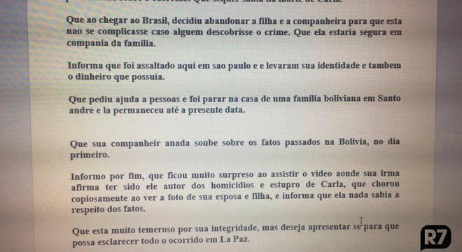 Suspeito boliviano foi encontrado pela polícia brasileira nesta sexta