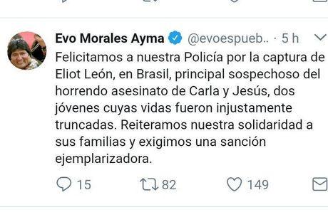 O presidente Evo Morales celebra a prisão