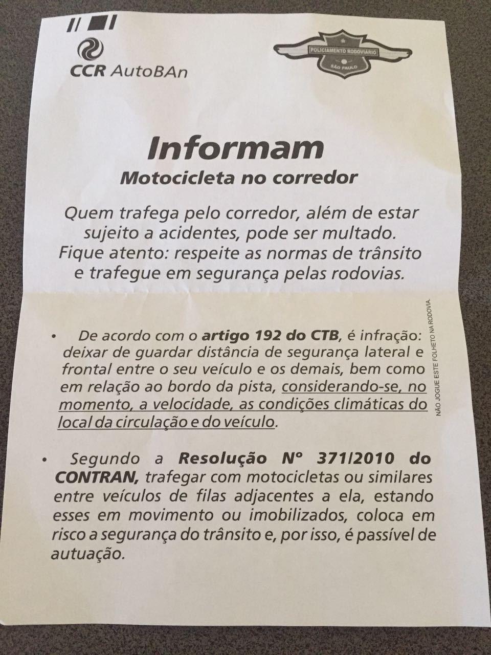 Polícia Militar multa indevidamente quem trafega em corredor - Prisma - R7  Moto Segurança e Trânsito 0121249cd3