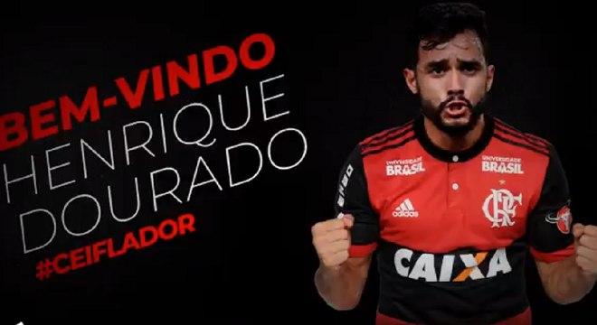 Henrique Dourado foi anunciado no Flamengo na tarde desta quinta-feira