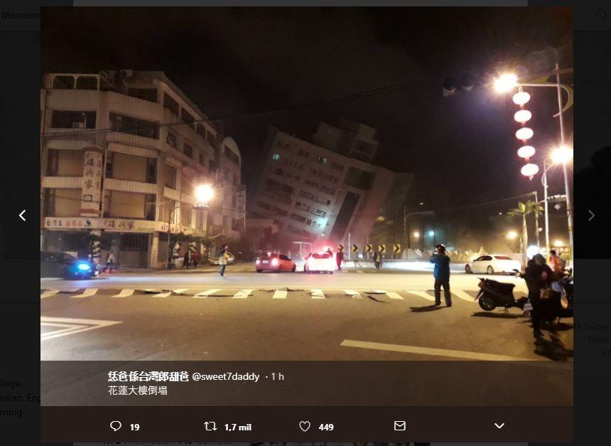 Terremoto de 6,4 graus derruba hotel em Taiwan e mata duas pessoas