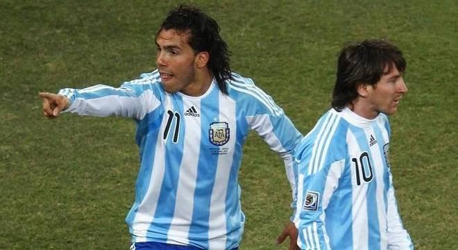 Tevez e Messi atuaram juntos na Copa do Mundo de 2010