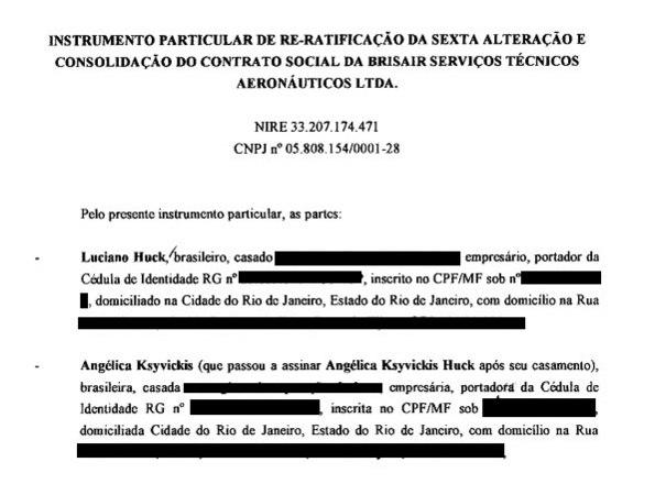 Os únicos sócios da Brisair, segundo documentos da Junta Comercial do Rio de Janeiro, são os apresentadores Luciano Huck e Angélica K. Huck