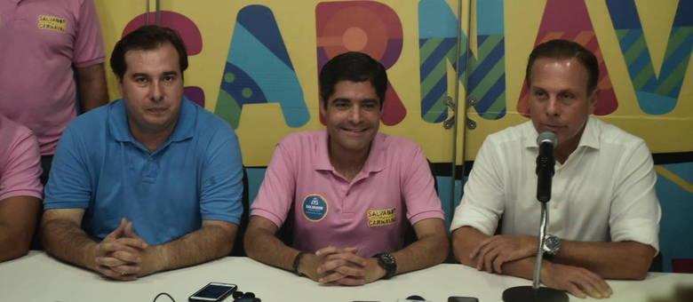 ACM Neto, João Dória e Rodrigo Maia se reuniram nesta terça-feira (13) de Carnaval