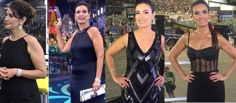 Nota dez em evolução: Fátima Bernardes ( da esq. para a dir.) nos Carnavais de 2015, 2016, 2017 e 2018