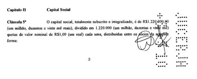 O capital social da empresa é de R$ 1,2 milhão