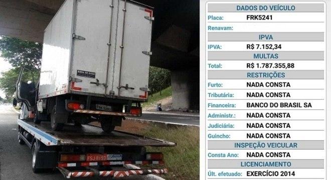 Caminhão deve quase R$ 1,8 milhão em multas