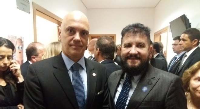 Ministro do STF Alexandre de Moraes e diretor nacional institucional da Record TV, Zacarias Pagnanelli