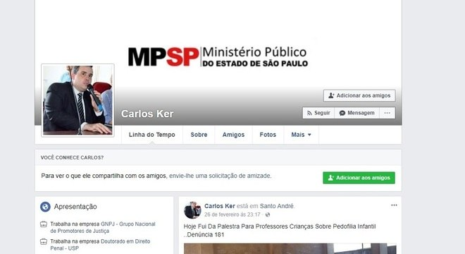 Perfil falso no Facebook utiliza fotos de um promotor de Minas Gerais
