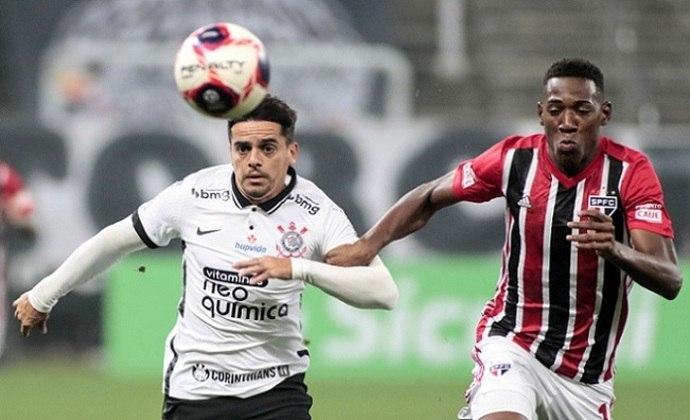 2/5/2021 - Corinthians 2 x 2 São Paulo - Fase de Grupos do Paulistão-2021. Gols: Luan e Gustavo Mosquito (COR)/Miranda e Luciano (SAO)