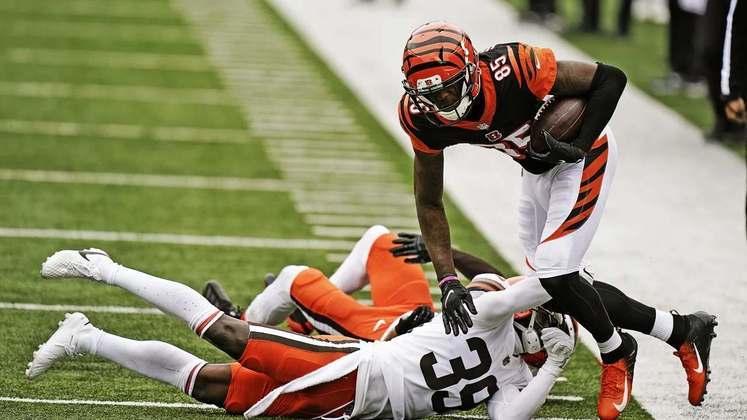 26 - Cincinnati Bengals: Enquanto a linha ofensiva for uma peneira não tem Joe Burrow que salva.
