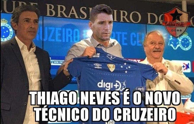 26.09.19 - Com a queda de mais um treinador, os internautas ironizaram afirmando que Thiago Neves seria o novo comandante do Cruzeiro