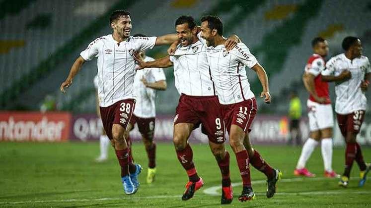 28/04/2021 - Na partida seguinte da competição, mais um show de Fred, que fez os dois gols da sofrida vitória por 2 a 1 na Colômbia, contra o Independiente Santa Fe.