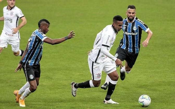 3ª rodada - Grêmio 0 x 0 Corinthians: Cássio; Michel Macedo, Gil, Danilo Avelar e Sidcley; Gabriel e Cantillo; Ramiro, Luan e Mateus Vital; Jô.
