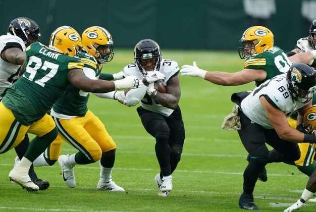 31° Jacksonville Jaguars - Surpreendentemente fez jogo equilibrado com os Packers. Mas mais uma vez terminou derrotado. O topo do draft de 2021 é uma realidade.