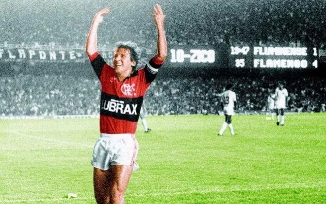 334 gols tem Zico, do Flamengo, atuando no Maracanã. Ele não é somente o artilheiro rubro-negro no estádio, mas o goleador máximo entre todos que atuaram no palco